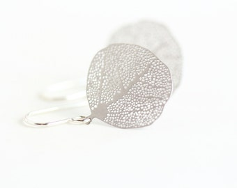 Mother Gift - Gift For Women - Silver Leaf Earrings - Nature Earrings - Simple Leaf Earrings - Dangle Earrings - Leaf Jewelry - Gift For Her