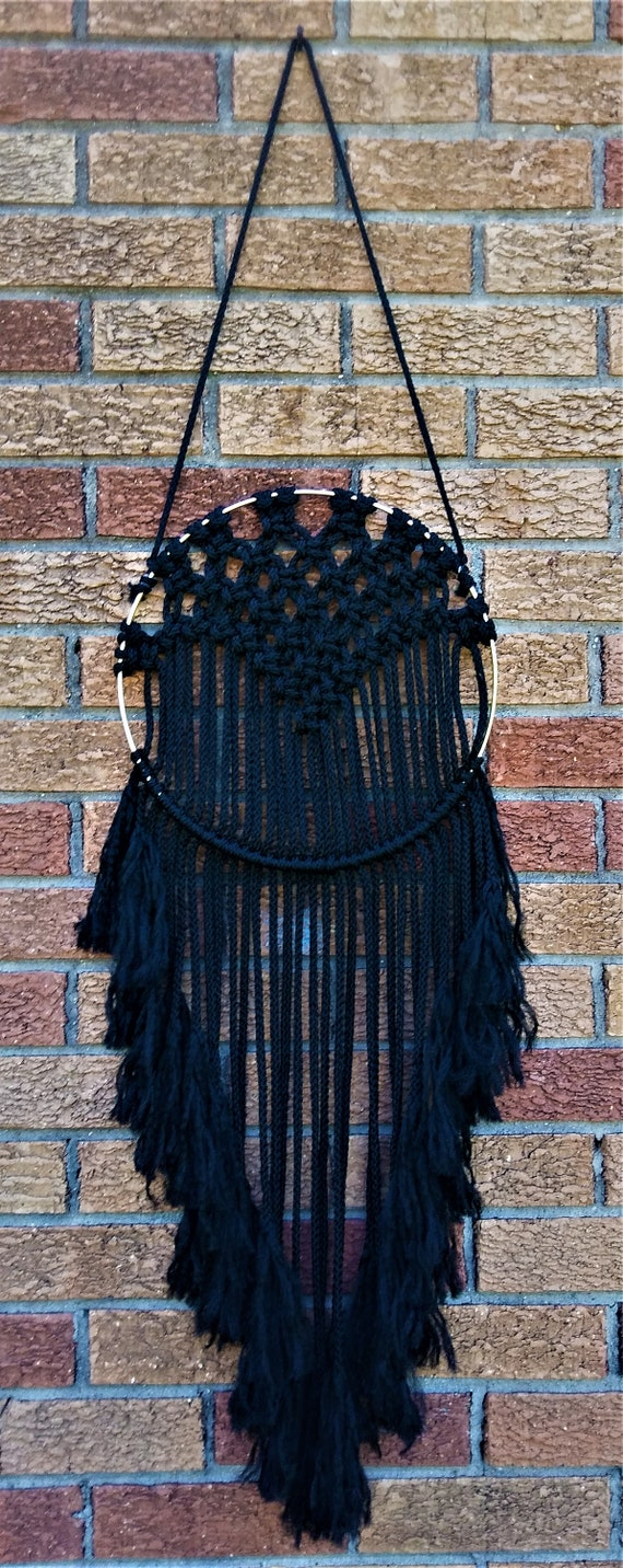 Black Macrame Wall Hanging on a Golden Ring