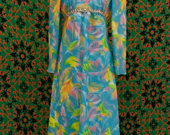 1960's multi color puff sleeve high neck maxi dress