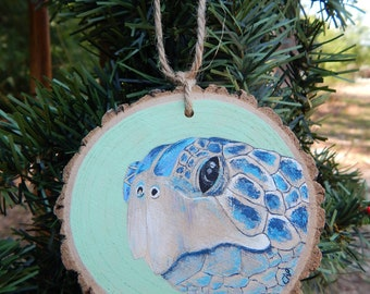 Turtle Hand painted wood slice ornament