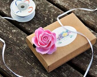 Molletta con rosa, Rosa bianca, Rosa per capelli, Accessori per capelli sposa, Accessori per sposa, Rosa rosa, Fermaglio con rosa, Fermaglio