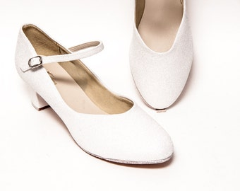 """Glitter - 1.5"""" Bridal White Character Shoes Heels for Theatre, Dance and Performance"""