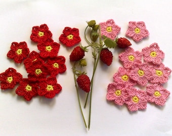 Set of 10 crochet flowers Pink flowers, Red flowers Mini crochet flower Handmade flowers Embellishment