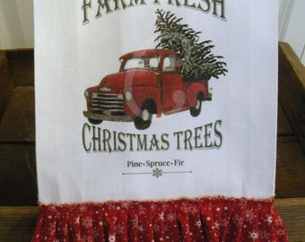 Old Red Truck Christmas Kitchen dish towel  Tree Farm Fresh Kitchen dish towel Rustic Farmhouse cotton  Tattered ruffles ECS RDT FVGTEAM