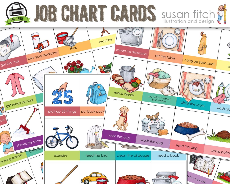 printable job chart chore chart cards rh etsy com Household Chores Clip Art children's chore chart clipart