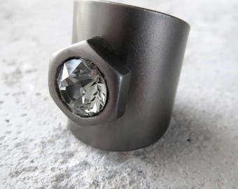 Mens Hex Nut Hardware Ring with Black Diamond Swarovski Crystal, Matte Charcoal Grey Wide Cuff Adjustable Ring, Unisex Ring, Men's Jewelry