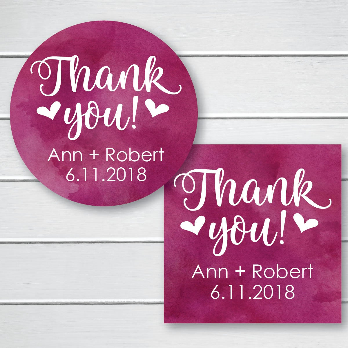 Thank You Wedding Sticker Watercolor Thank You Favor Stickers
