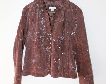 Vintage distressed paint splattered jacket leather brown snap button jacket women's size L