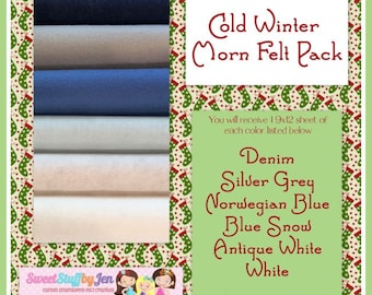 "Christmas-Holiday Wool Felt Bundle-Cold Winter Morn Felt Sheets-9x12"" Sheets Wool Felt-Craft Felt-Wholesale-Wool Blend Merino Felt"