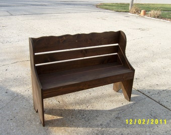 salvaged, reclaimed, bench with back