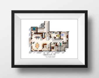 New Girl TV Show Apartment Floor Plan  New Girl TV Show Layout   Apartment  4D