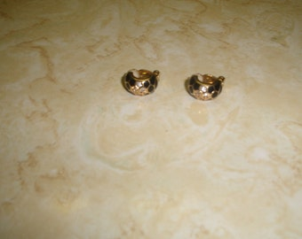 vintage clip on earrings goldtone half hoops black enamel rhinestones