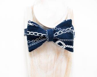 Navy white nautical freestyle thistle bow tie