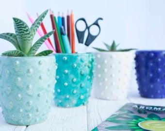 Pen Holder - Succulent Planter - Ceramic Pot - Pencil Holder - Modern Desk Organizer - Office Organizer - Ceramic Pencil Cup  