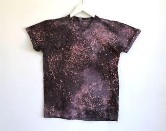 Speckled Tshirt in Milky Way Deep Purple and Gray Hand Dyed
