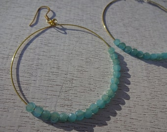 Turquoise Crystal Gold Wire Hoop Dangle Earrings