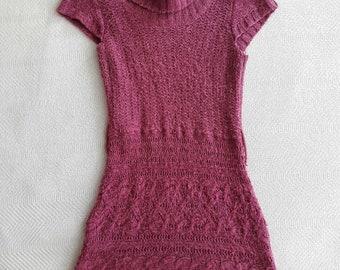 Raspberry Loose Turtleneck Sweater Dress *ON SALE*