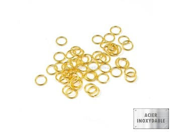 Stainless steel - 4/6/10mm - 10 or 100 Stainless Steel Gold Rings