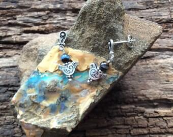Silver Bird with Boulder Opal Earrings, Post Earrings, Dangle Earrings, Gift for Her