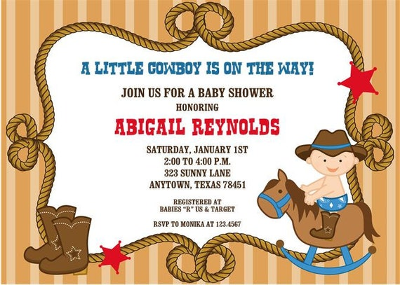Little cowboy baby shower invitations filmwisefo Image collections
