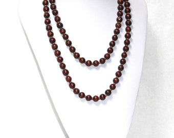Vintage BROWN WOODEN Beads Long Necklace