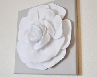 """Rose Wall Hanging- White Rose on Light Gray Solid 12 x12"""" Canvas Wall Art- 3D Felt Flower"""