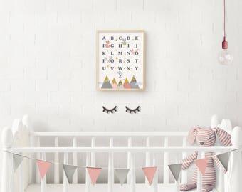 Woodland nursery, ABC print, Woodland alphabet, Pink Nursery, Woodland Decor, Nursery ABC, Baby Gift, Alphabet, Nursery wall art, Giclee art