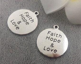 20pcs Antique Silver Faith Hope &Love Charms25*27mm, Charms
