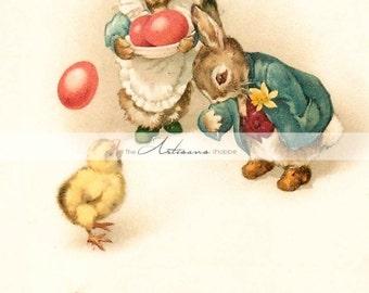 Digital Download Printable Art - Vintage Easter Bunny Chick Greeting Image - Paper Crafts Scrapbook Altered Art - Antique Easter Postcard