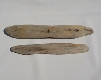 2 Flat Narrow Driftwood 13-15.7''/33-40cm Old/Flat Driftwood Pieces,Natural Driftwood Signs,Driftwood Name Tags #85A