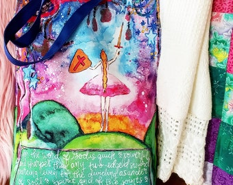 Hebrews 4:12 Quick and Powerful Tote Bag Canvas Purse Alive Active Bible Word Fine Art Watercolor Mixed Media Growing Meadows Tai Bender