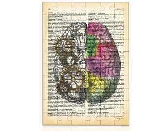 Left right brain Puzzle-anatomy jigsaw puzzle-brain wall art-brain puzzle-Toys & Games-gift for doctor-Christmas gift-NATURA PICTA-NPZ003