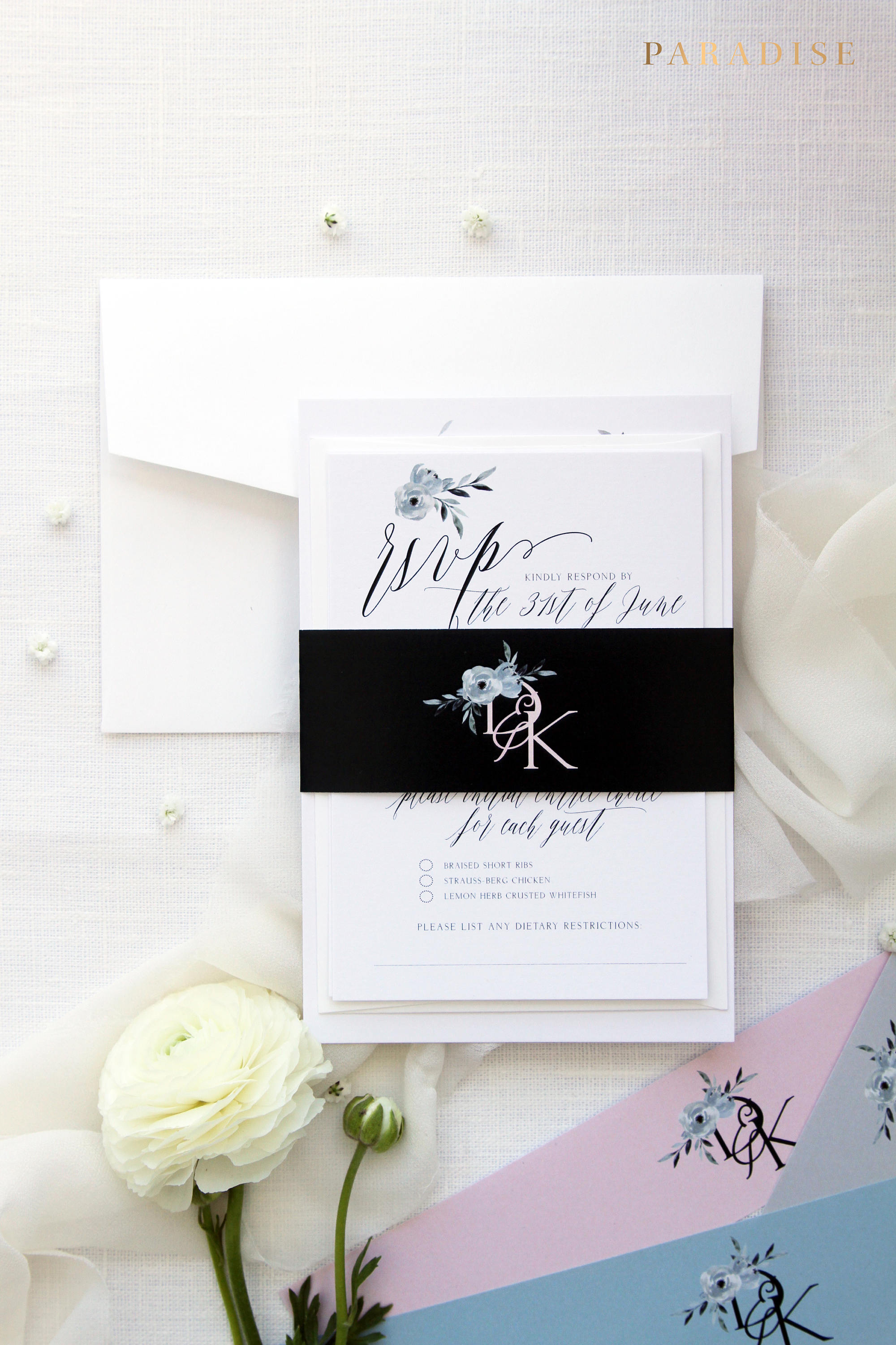 Skyla 2 Watercolour Wreath Wedding Invitation Sets Printable