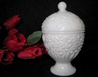 Vintage Avon Milk Glass Egg Shaped Lidded Jar Compote Vase Planter Jewelry Dish Candle Holder Candy Dish Floral Motif Cottage Vanity