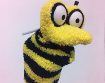 Bee sock puppet