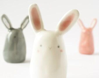White bunny miniature ceramic rabbit figurine, Eastee bunny, Clay bunny ceramic rabbit sculpture Kawaii ceramic Pottery animal totem.