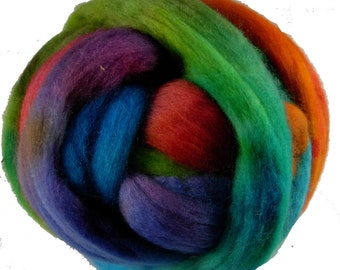 Hand Dyed Corriedale Wool Roving, Rainbow Colors, 'Carnival' Colorway, for spinning or felting