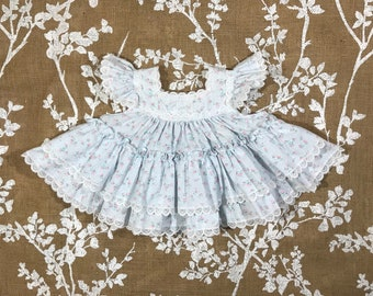 3-6 Vintage Flutter Sleeve Lace Tiered Twirl Dress Floral Roses