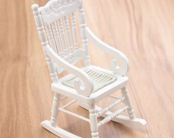 New 1:12 Dollhouse Miniature Furniture White Brown Wooden Rocking Chair Hemp Rope Seat For Dolls House Accessories Decor Toys