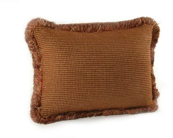 Rust and Gold Chenille Medium Rectangle Pillow with Fringe