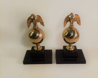 Set of 2 Vintage Solid Brass Eagle Book Ends