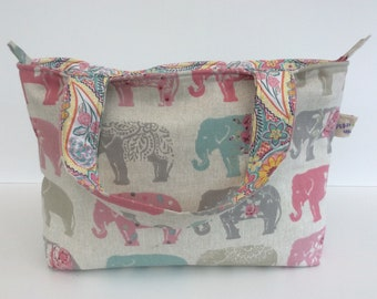 "Top handle perfect everyday Elephant design paisley lining bag ""The Daisy"""
