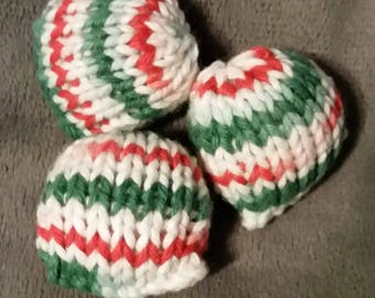 Set of Three Hand-Knit Stuffed Red, Green, and White Cat Toys
