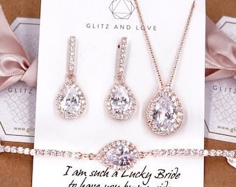 Rose Gold Wedding Bridesmaid Gift Bridal Earrings Necklace Bracelet Jewelry Set Clear White Cubic Zirconia Teardrop Ear Studs E306 B90 N221