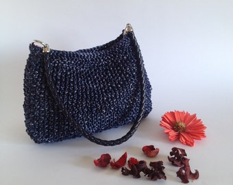 Handbag knitted bag, Shoulder bag, Wedding purse, Summer city bags, Ladies handbag bag, handle blue Bag, spring woman bag, blue shoulder bag