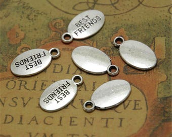 35pcs silver tone Best Friends charms 18 x 10mm  BBF 18mm x 10mm ASD0025