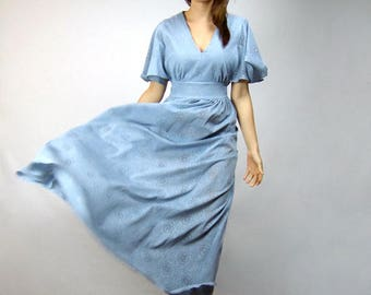 Dusty Blue Lace Dress Vintage Clothing Women Bell Sleeve Bohemian Maxi Dress See Through Hippie Summer Dress - Large L