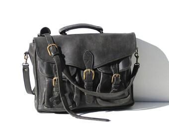 Vintage Black Leather Messenger Briefcase Bag