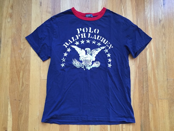 Vintage Polo Ralph Lauren T-Shirt USA Flag Spell Out Crest Stadium P Wing