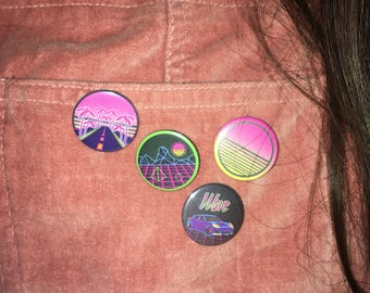 SYNTHWAVE 80's HANDMADE BADGES (4 x 25mm pack) neon pins, buttons, high quality, sun, car, geometric